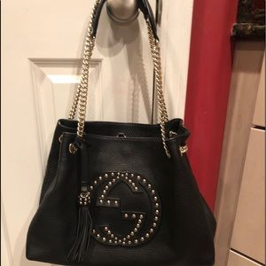 Pre owned Gucci Marmont studded fringe bag